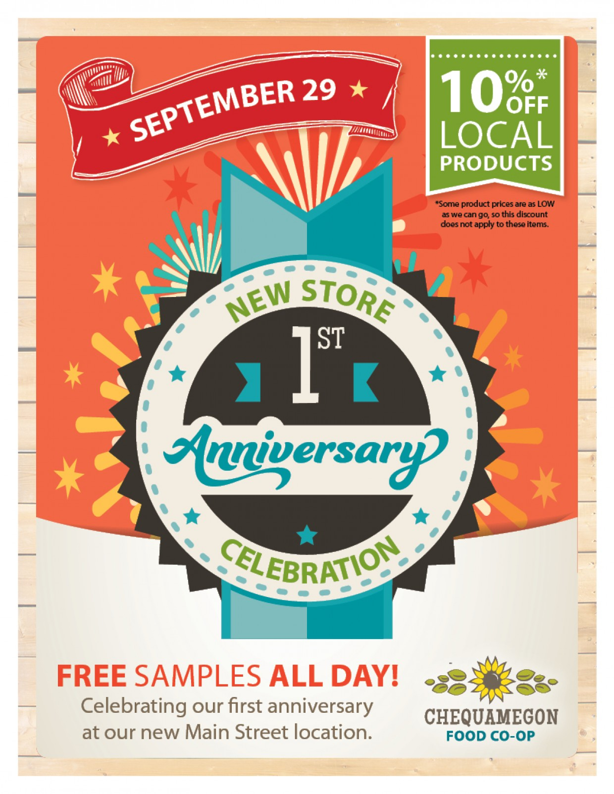Anniversary sale off local products chequamegon