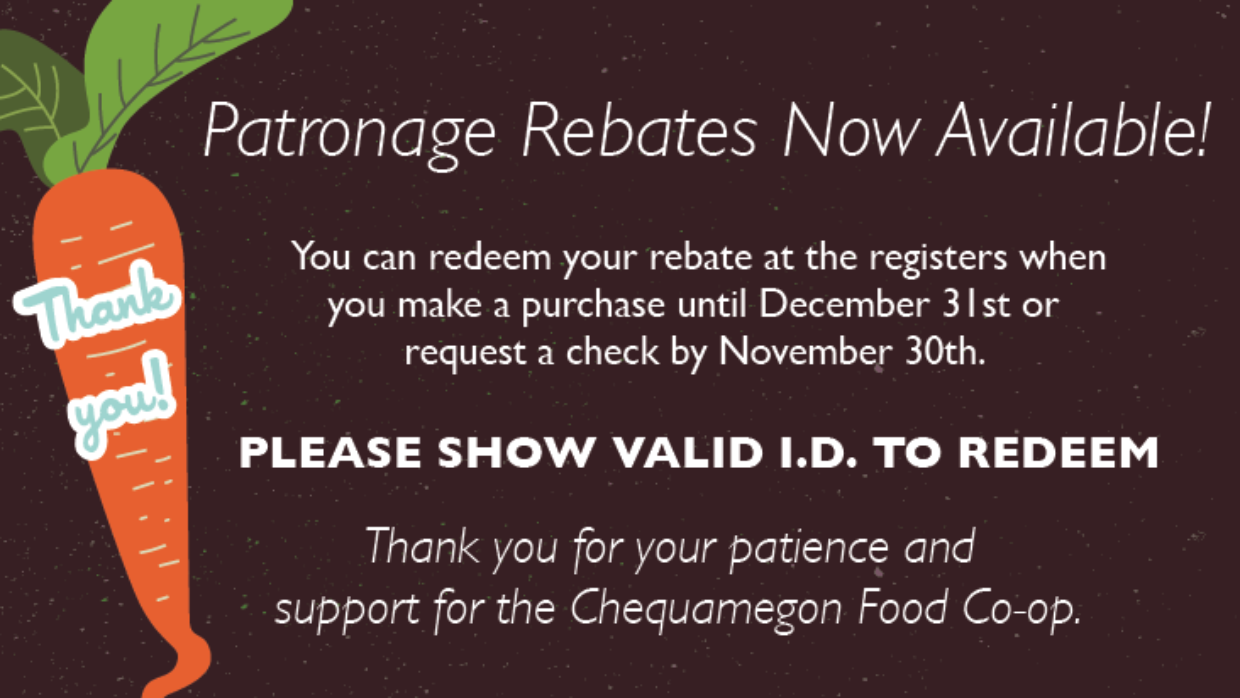 Patronage Rebates Now Available